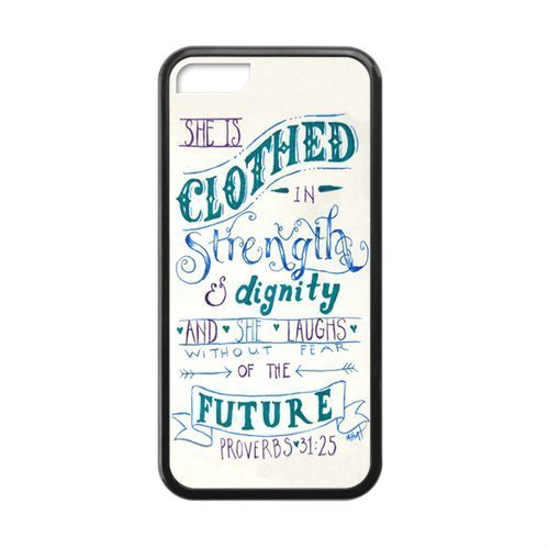 APPLE iPhone 5c Case - Popular Bible Proverbs 31:25 She is clothed with strength and dignity, And she smiles at the - Shipping Usps Quote International