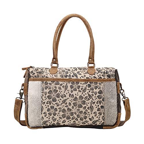 - Myra Bag Simplistic Upcycled Canvas & Cowhide Messenger Bag S-1432