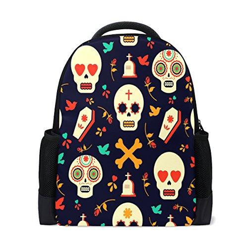 Icon Womens Laptop Bag - QQMARKET Modern Skull Emoji Icons Polyester Travel Bag Laptop Backpack Men Women Outdoor Daypack 16 inch