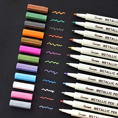 Premium Metallic Marker Pens, Set of 12 Assorted Colors for Adult Coloring Books, Art Rock Painting, Card Making, Metal and Ceramics, Glass