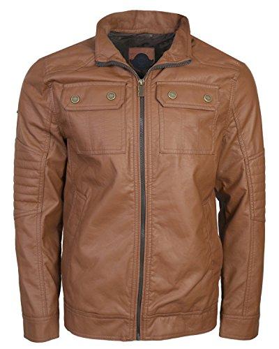Urban Republic Men\'s Faux Leather Jacket, Cognac, X-Large'