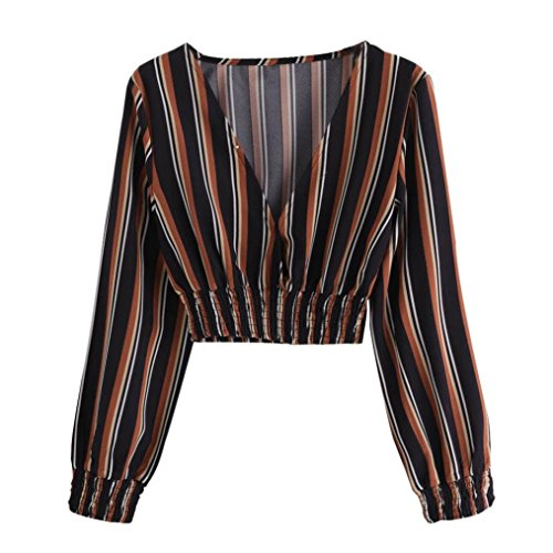 Yuxikong Women's V Neck Cropped Sleeve Striped T-Shirt Blouse Tops Clothes (Black, L) ()