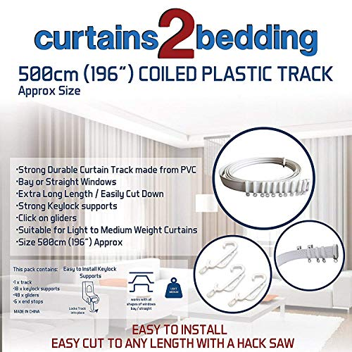 C2B 196 (500cm) Plastic Curtain Track - Strong, Bendable Curtain Track - Bay & Straight Windows, Wall & Ceiling Mounted, Curtains & Shower Curtains, Easily Cut Down, Parts for 3 Tracks.