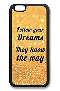 6 Plus Case, iPhone 6 Plus Case Follow Your Dreams Glitter Creativity TPU Silicone Gel Back Cover Skin Soft Bumper Case Cover for Apple iPhone 6 Plus by Maris's Diaryby Maris's Diary