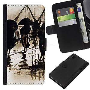 KLONGSHOP // Tirón de la caja Cartera de cuero con ranuras para tarjetas - Lluvia Retro Pintura del vintage Arte - Sony Xperia Z1 L39 //