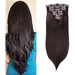 "20"" Remy Human Hair Clip in Extensions Straight Dark Brown 70 grams for Women Real Thick Double Weft Clip On Hair Extensions 2# 7 Pieces 2.45 oz (20"" Straight Dark Brown)"