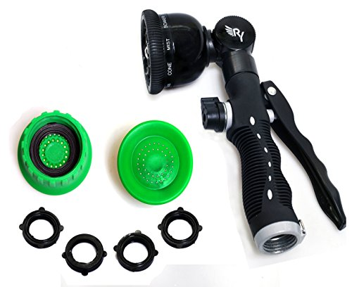 RAAYA GARDEN HOSE NOZZLE sprayer Swivel wand - Heavy Duty 9 Adjustable Pattern Pistol Grip Back & Front Trigger, Flow Control, Ergonomic, Watering & Cleaning: Car, Lawn, Pets - Maximum Satisfaction