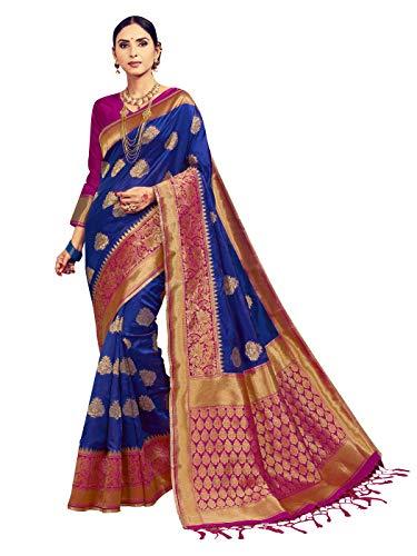 Sarees for Women Banarasi Art Silk Woven Saree l Indian Ethnic Wedding Gift Sari with Unstitched Blouse Blue (Indian Sarees Blouse)