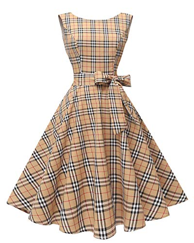 Hanpceirs Women's Boatneck Sleeveless Swing Vintage 1950s Cocktail Dress Khakiplaid 3X