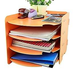 Menu Life Desk File Letter Trays File Magazines Holder Collectors Desk Document File Storage Cabinet Box (Orange)