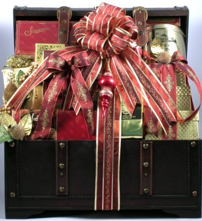 The V.I.P, Large Holiday Gift Basket in Wooden Trunk with Chocolates, Cookies, Meats, Cheeses, Coffees, Candies, Cakes & Other Holiday Favorites (Medium), 32 Lb