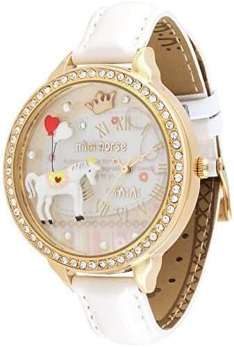 Mini Leather Strap Diamond Fashion Cute White Horse Student Girls Watch White