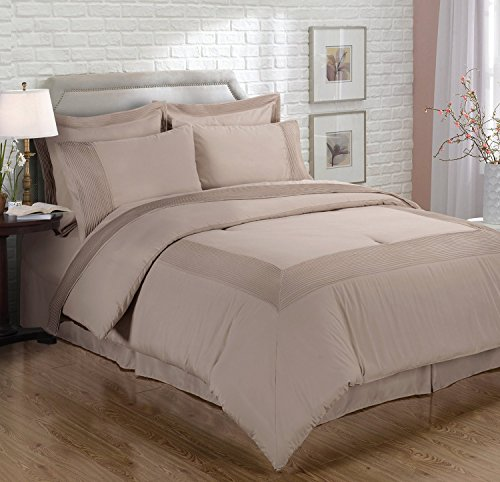 Chezmoi Collection 3-piece Solid Pleated Hem Duvet Cover Set with Corner Ties (King, Mocha) - Pillow Mason Collection