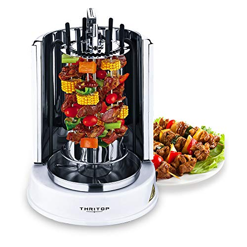 THRITOP Vertical Rotisserie Oven 1100W,Multi-Function Electric Grill Ajar-Door Countertop Oven, Shawarma Machine Rotisserie Grill for Home- Broiling Meat Layers, Shashlik, Gyros, Sausages, Poultry