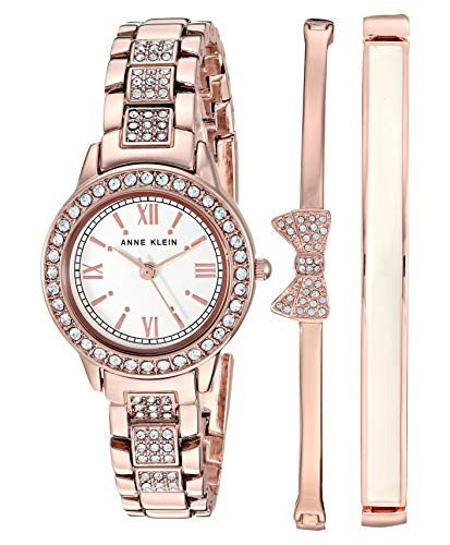 Anne Klein Women's Swarovski Crystal Accented Bracelet Watch and Bangle Set, AK/3334
