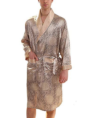- VERNASSA Mens Satin Robe Lightweight Silk Spa Bathrobe Nightgown Long Sleeve House Kimono Printed Bathrobe Gold