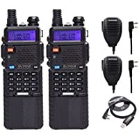 2pcs Baofeng UV-5R8W High Power 8W Tri-Power 1W/4W/8W Portable Dual Band Two-Way Radios 3800mAh battery peakers +1 USB Programming Cable