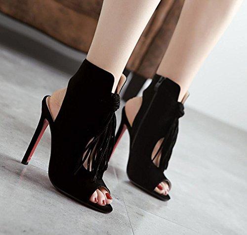 Sandalias Zapatos Sandalias Verano Borla Romanas con de DANDANJIE Huecas Las Negro de Tacones Altos caseros Zapatos Señoras Cremallera del Mujeres 0dWYwO