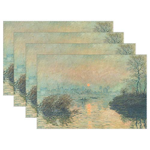 WIHVE Placemats Set of 6, Sunset On The Seine Winter Effect Monet Art Holiday Non Slip Heat-Resistant Washable Polyester Table Place Mats for Kitchen Dining Table, 12