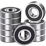 XiKe 10 Pcs 6204-2RS Double Rubber Seal Bearings 20x47x14mm, Pre-Lubricated and Stable Performance and Cost Effective, Deep Groove Ball Bearings.