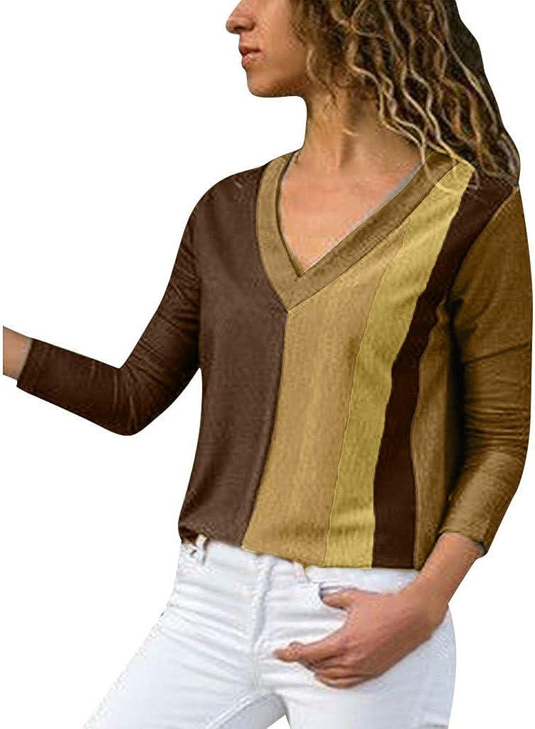 Amlaiworld Women Fashion Oversized Sweater Stripe Sweatshirt Long Sleeve Blouse Pullover Shirt Tops