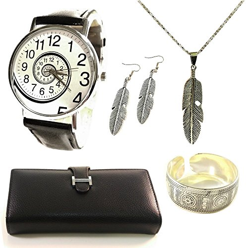Womens Gift Set Fashion Necklace Watch Bracelet Wallet Earrings Women Birthday Gifts