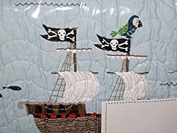 AUTHENTIC KIDS reversible TWIN SIZE PIRATE SHIP QUILT set (set includes quilt + sheet set)
