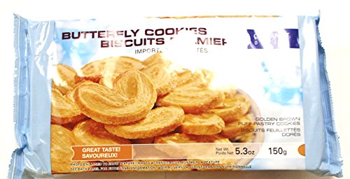 Butterfly Cookies - Butterfly Cookies Biscuits Palmiers, 150g 5.3oz (Pack of 4)