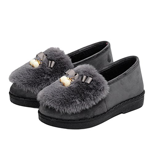 Btrada Donna Inverno Pantofole Morbide Mocassino Fodera In Pelliccia Perline Allaperto Perline Bowknot Pantofole Grigio
