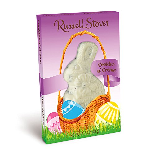 - Russel Stover's Milk Chocolate (2) and Cookies N Creme (2) Easter Bunny Rabbits Set. Four Easter Bunnies Included. Easter Basket Filler.