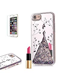 iPhone 7 Mirror Case [with Free Screen Protector] ,Funyye Fashion Luxury Bling Hybrid Soft TPU Bumper with Silver Plating Dresses Girl Mirror Quicksand Flowing Floating Ultra Slim PC Hard Case for iPhone 7 4.7""