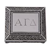 Alpha Gamma Delta Engraved Pin Box Sorority Greek Decorative Trinket Case Great for Rings, Badges, Jewelry Etc. Alpha Gam(Vintage Footed Pin Box)