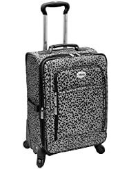 Amelia Earhart Luggage Safari 360 Collection 28 Expandable Upright, Silver/Black Jacquard, 28-Inch