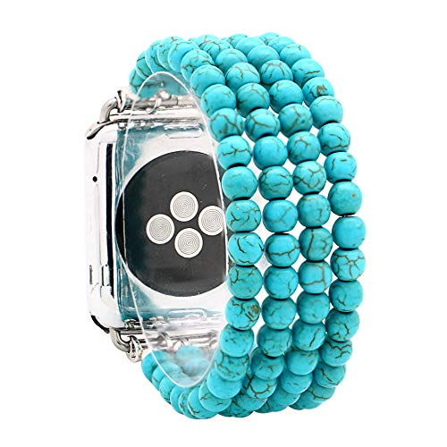 Turquoise Beaded Watch - KAI Top Replacement iWatch Band Fashion Beaded Created-Turquoise Elastic Jewelry Bracelet Band Strap Women Girl Compatible for 38mm 42mm Apple Watch Series 3/2/1 (Created-Turquoise, 38mm)