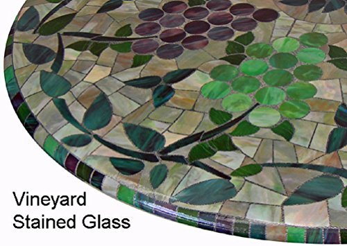 "Mosaic Table Cloth Round 36"" to 48"" Elastic Edge Fitted Vinyl Table Cover Vineyard Stained Glass Pattern Brown Purple Green"