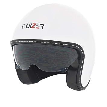 CRUIZER – Casco Jet homologado color blanco hombre mujer, con doble visera antiarañazos Ed interior