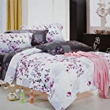 Blancho Bedding - [Plum in Snow] 100% Cotton 3PC Comforter Cover/Duvet Cover Combo (Twin Size)