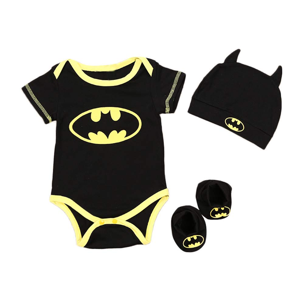 NUWFOR Toddler Newborn Baby Boys Girls Cosplay Costume Romper Hat Footwear Outfits Set(Black,3-6Months)