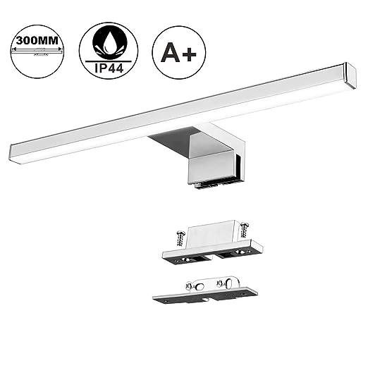 Lámpara de Espejo Baño LED 5W 30cm 400LM Azhien,Blanco Neutro 4000K LED Armario Lámpara Luz de Pared IP44 230V Aplique de Baño Espejo Acero Inoxidable ...