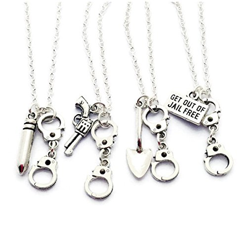 kakupao 4 Partners in Crime Necklaces, Best Friends Set, Friendship Necklace, Handcuff Jewelry, Get Out of Jail Free Necklaces
