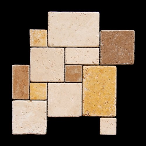 Mixed Travertine 4-Piece Opus Mini-Pattern Mosaic Tile. Tumbled