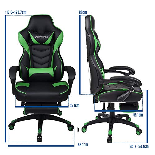 Gaming Chair Black Green for Adults with Footrest,High Back Swivel Computer Office Chair with Pillows and Lumber Support