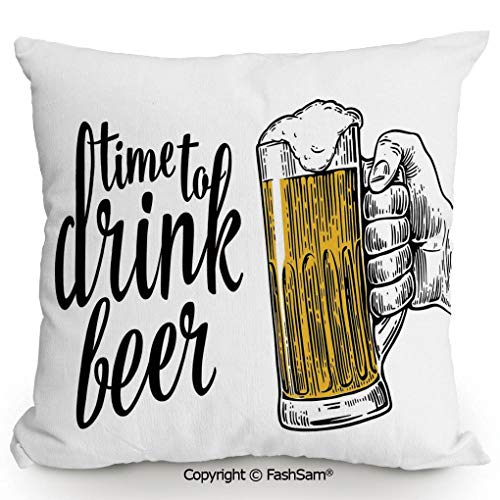 - FashSam Home Super Soft Throw Pillow Time to Drink Beer Quote with Man Hand Holding The Mug Toast Illustration for Sofa Couch or Bed(16