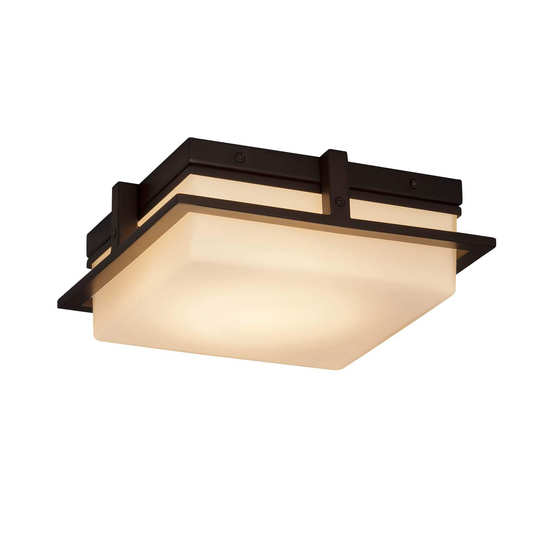 Justice Design Group Lighting FSN-7560W-OPAL-DBRZ Avalon Flush-Mount 10''L x 10''W x 3.5''H Dark Bronze by Justice Design Group Lighting