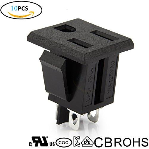DIYhz 10Pcs Black Environmental protection UL 3 Pins Power Socket Plug Panel Screw Mount Type Connectors Adapter (Ulcs Adapter)