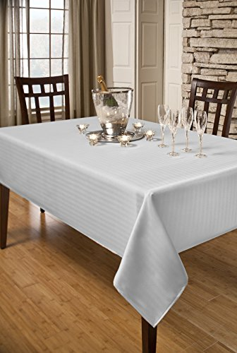 Creative Dining Group Herringbone Weave Spillproof Tablecloth, 60 by 104-Inch, White