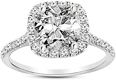 3.5 Ctw 14K White Gold Halo GIA Certified Diamond Engagement Ring Cushion Cut (3 Ct H Color VS2 Clarity Center Stone)