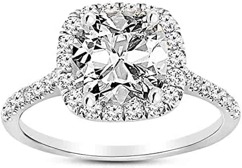 2.25 Carat GIA Certified 14K White Gold Halo Cushion Cut Diamond Engagement Ring (1.5 Ct I-J Color I1 Clarity Center)