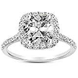 1.28 Carat GIA Certified 14K White Gold Halo Cushion Cut Diamond Engagement Ring (0.53 Ct D Color VVS2 Clarity Center)