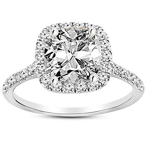 2.5 Carat GIA Certified 14K White Gold Halo Cushion Cut Diamond Engagement Ring (2 Ct J-K Color SI1-SI2 Clarity Center) (2 Carat Cushion Cut Halo Diamond Ring)